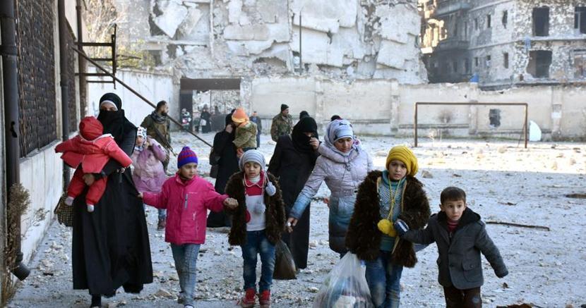 Civili in fuga ad Aleppo